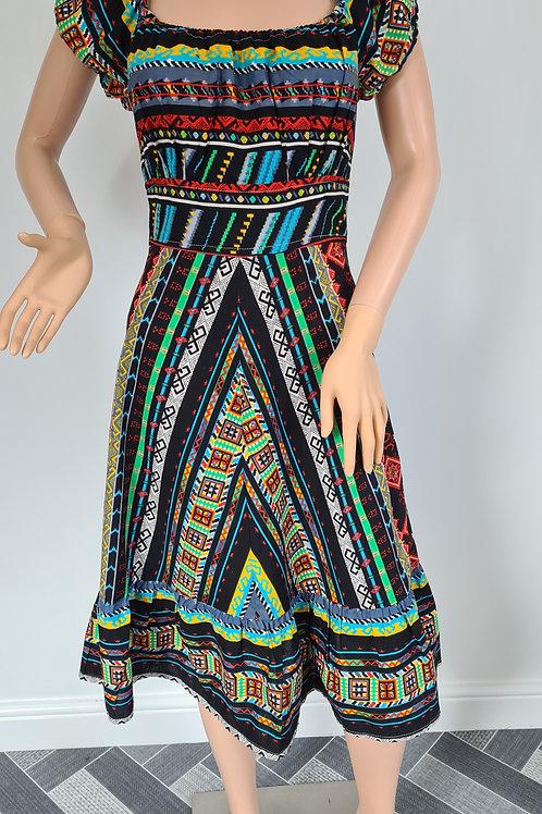 Vintage Black & Multi Coloured Print Cotton Peasant Dress M
