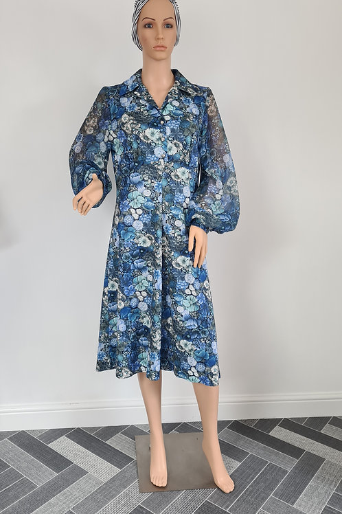 Vintage 1970s Blue Floral Fit & Flare Dress with Sheer Bell Sleeves UK sz16