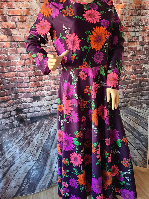 Vintage 70's Multicoloured Floral Maxi Dress UK16