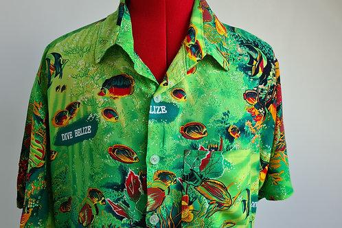 Vintage Handmade Dive Belize Green Tropical Fish Design Short Sleeved Shirt L
