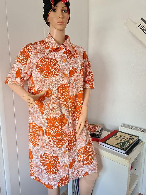 Vintage 1970s Orange Print Button Through Housecoat Dress L