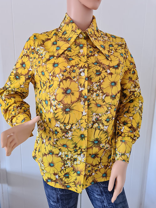 1970s Bright Yellow Sunflower Print Vintage Blouse UK18