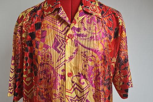 Vintage 80s Bold Patterned Brightly Coloured Pinstripe Design Short Sleeved Shir