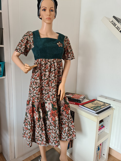 Vintage 1970s Floral Print & Needlecord Peasant Dress with Tiered Skirt by Penny