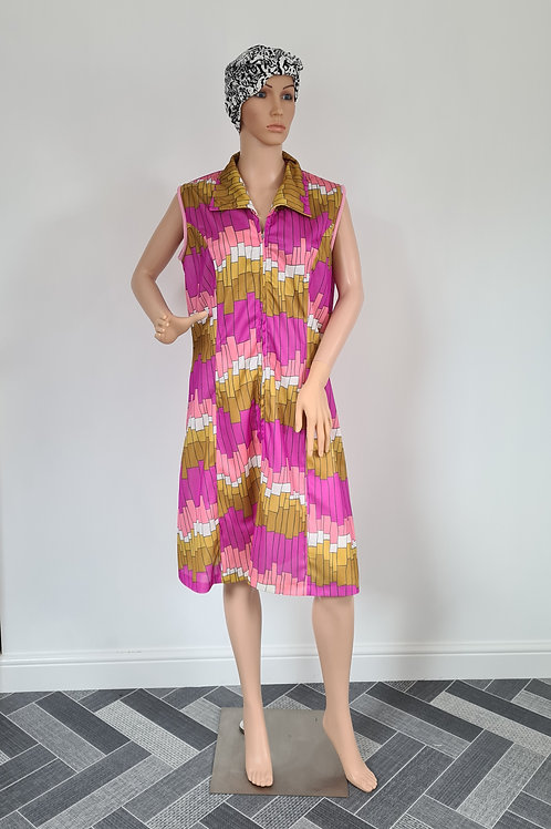 Vintage Sleeveless Pink & Gold Bold Print Zip Front Dress XL