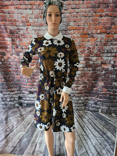 Vintage 1970s Gadging Paris Long Sleeved Floral Stretch Floral Print Dress S/M