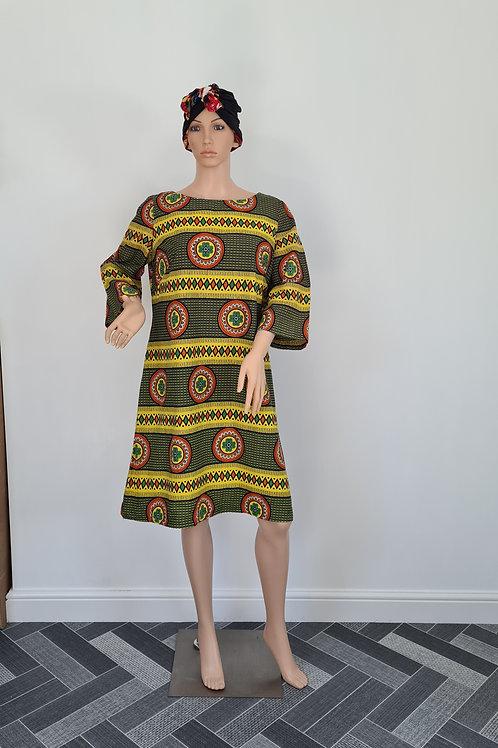 Multicoloured Ethnic Patterned Kaftan Style Dress by Rima UK18