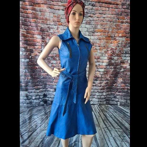 Vintage 70s Blue Leather Zip Front Dress by Susan Small S