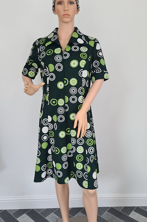 Vintage 1960s Green Bold Print Short Sleeved Zip Front Dress with Collar sz UK18