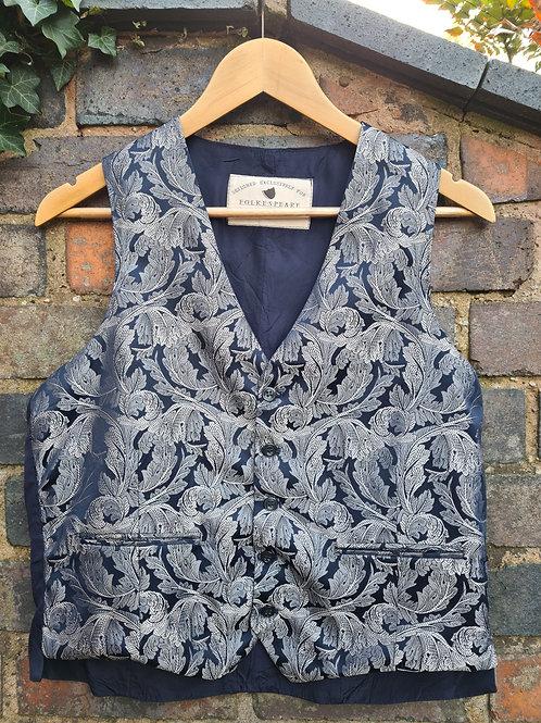 Vintage Navy & Silver Leaf Design Waistcoat by Folkespeare M