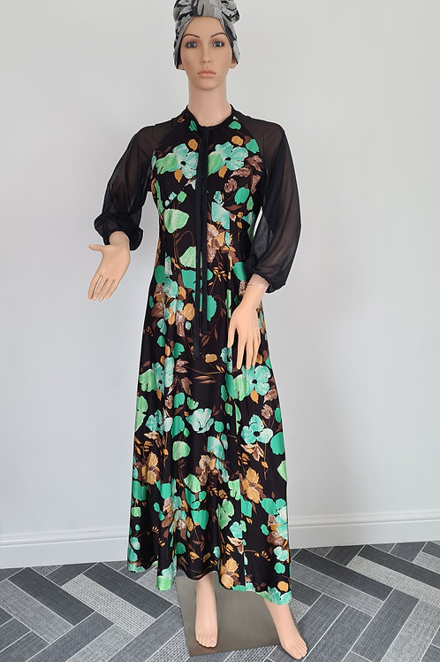 Vintage 1970s Handmade Green/ Brown Floral Maxi Dress with Sheer Sleeves S/M
