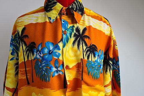 Vintage Gold Hawaiian Shirt with Palm Tree Print by Lomalgi XL