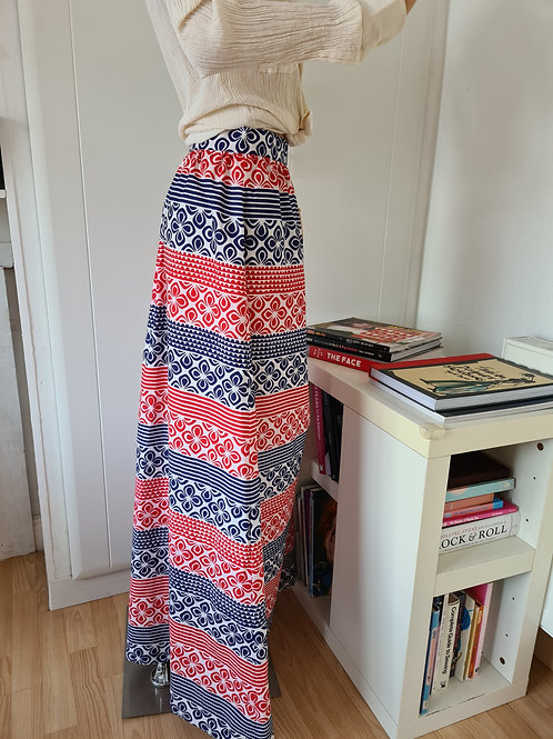 Vintage 1970s Cotton Print Maxi Skirt by St Michael UK12 New with Tag