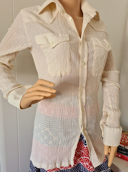 """Vintage 1970s Cheesecloth Shirt Off White 14.5"""" / 37cm collar S"""