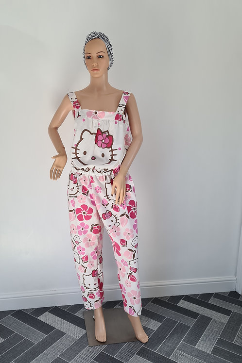 Hello Kitty Upcycled Duvet Dungarees M