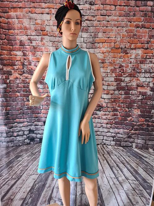 Vintage 70's Turquoise Mod Dress M