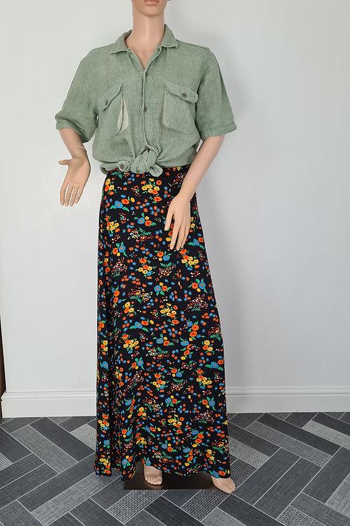 Vintage 1970s Black Cotton Multi Floral Print Maxi Skirt by Hard Shops S