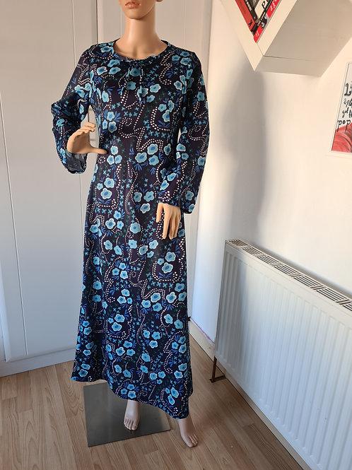 Vintage 70's Blue Floral Maxi Dress L