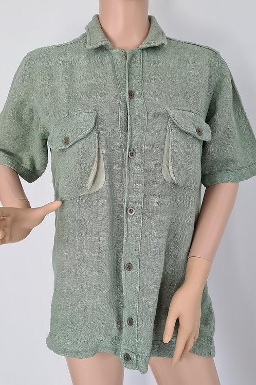 Vintage 80s Pale Green Short Sleeved Cargo Pocket Rustic Weave Shirt L