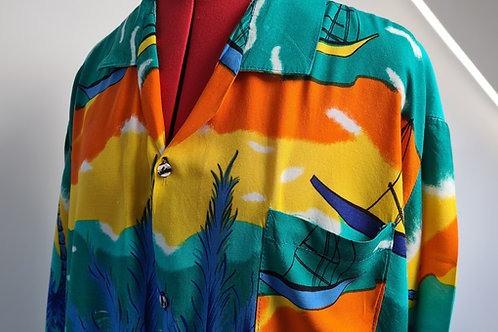 Vintage Short Sleeved Hawaiian Shirt with Palm Trees & Boats in Vivid Colours XX