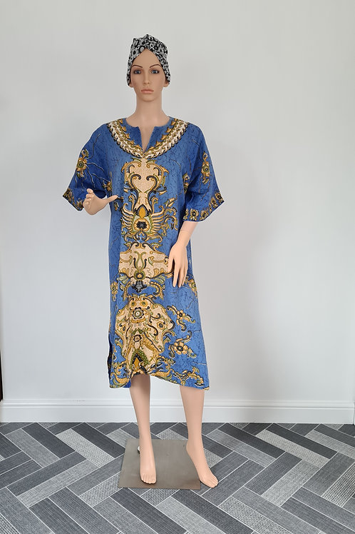 Vintage 1970s Blue Cotton Kaftan with Bold Print by Bambi House L