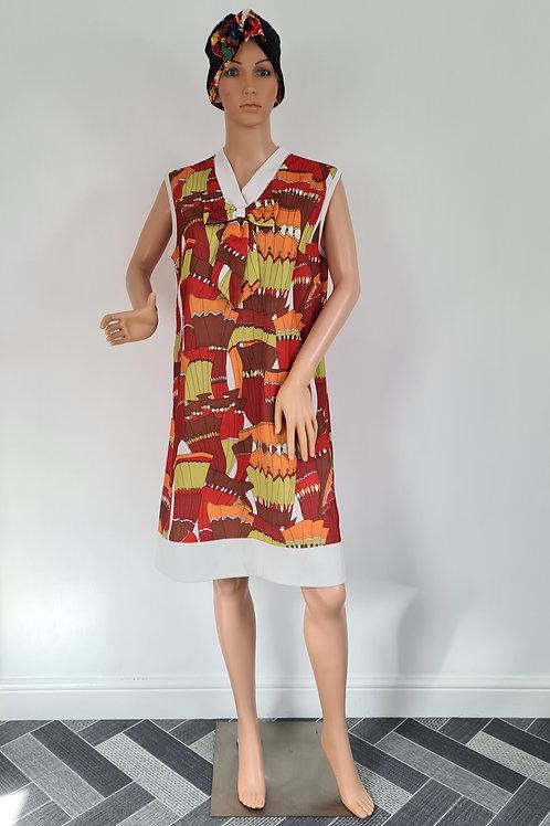 Vintage Handmade Sleeveless Multi Coloured Print Dress with Collar & Bow UK 18