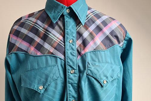 Vintage Green Western Cowboy Shirt with Check Yoke by MWG XL