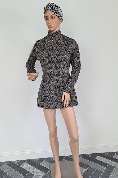 Vintage 1960s Crimplene Lurex Dress / Top with High Collar M
