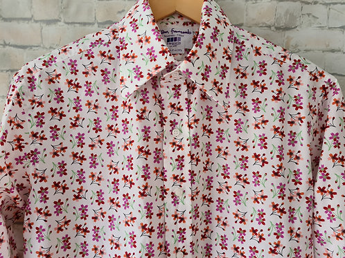 """White Shirt with Colourful Floral Print by John Francomb 15.5"""" collar"""