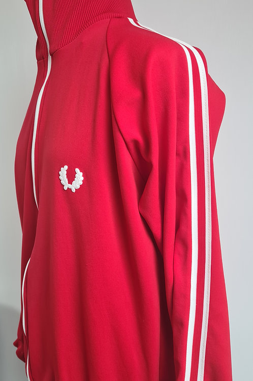 Vintage Red Fred Perry Track Top with White Sleeve Stripes & Empire Stores Cycle