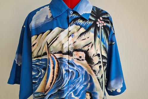 Vintage 1980sBlue Hawaiian Shirt with Hula Dancers XL