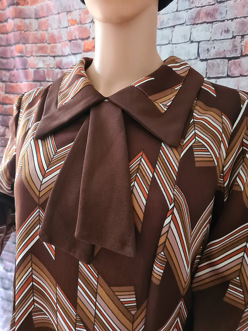 Vintage 70's Brown Chevron Print Dress L