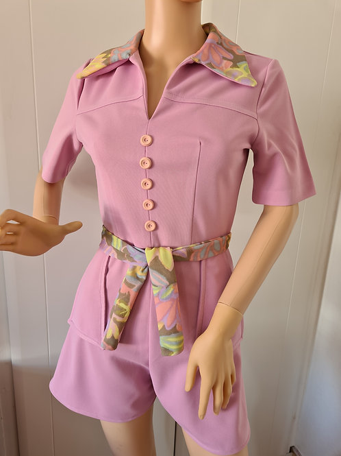 Upcycled Pink Playsuit Reworked from Vintage Dresses S