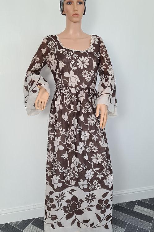 Vintage 1970s Handmade Brown / Creme Floral Print Maxi Dress M UK 14