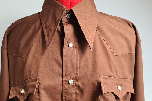 Vintage 1970s Mens Brown Western Style Shirt by Pariani L