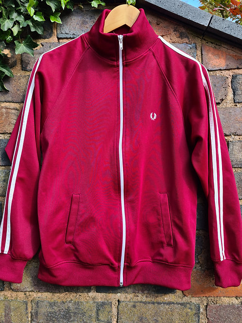 Vintage 90s Fred Perry Burgundy Zip Front Track Top M