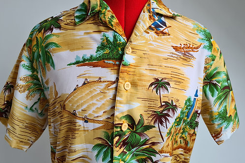 Vintage Hawaiian Sports Shirt with Boat Print S