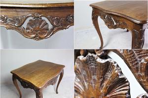 珍しい透かし彫り装飾が施された猫足フレンチテーブル。全高:750mm 全幅:850mm 奥行:710mm