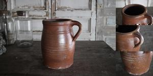 「フランス ノルマンディー 陶器 ポタリージャグ」年代:推定1860年代 全高:213mm 全幅:190mm 奥行:142mm