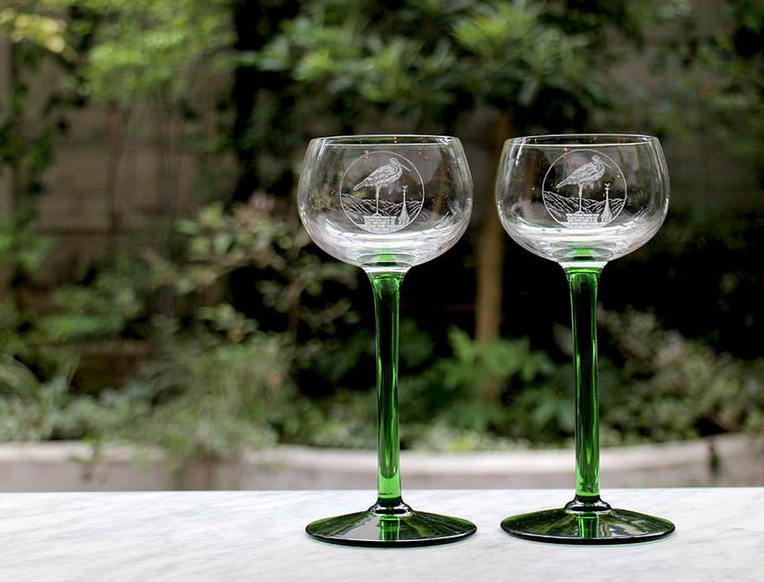 サンルイ グリーンロングステム ワイングラス