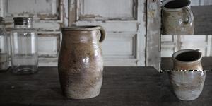 「フランスノルマンディー 陶器 ポタリージャグ」年代:推定1860年代 全高:215mm 全幅:172mm 奥行:145mm