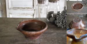 「フランス19世紀 南仏の陶器 ポタリーボウル」年代:推定1840年代 全高:98mm 全幅:235mm 奥行:225mm