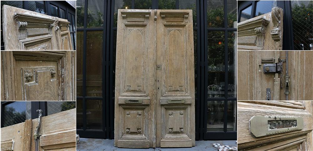 塗装が剥離された19世紀のオークドア。全高:2,270mm 全幅:1,270mm 奥行:40mm