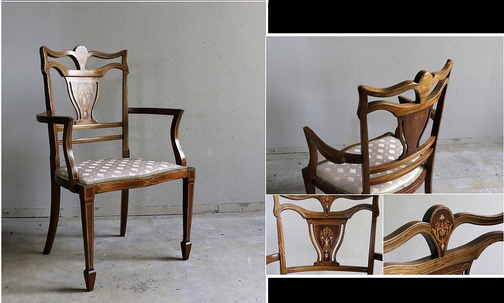 手間と時間、繊細な技量が必要とされる象嵌細工が施された贅沢な椅子