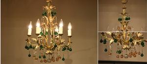 アンティーク カラードロップ フレンチアイアンシャンデリア 6灯