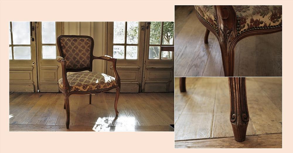 ルイ15世様式 ローズ柄モケットが魅力のオークアームチェア