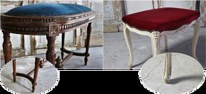 左(青)は、まっすぐに伸びた脚、すっきりとしたデザインのなかにも優雅な装いを感じるルイ16世様式、右(赤)は、柔らかい曲線の足が美しいルイ15世様式。