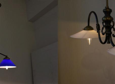 フランス2灯式真鍮製ハンギングランプ、新入荷