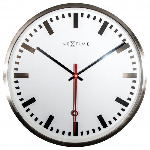 NeXtime Super Station office round large clock, grote 55cm analoge buiten stationsklok, óriás elegáns analóg halk falióra