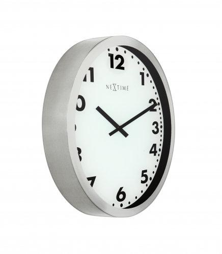 NeXtime 3032 Magic Arabic round analogue silver wall clock, 35cm zilveren analoge wandklok, nagy ezüst analóg design falióra